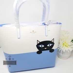 Kate spade little len jazz things up cat tote blue